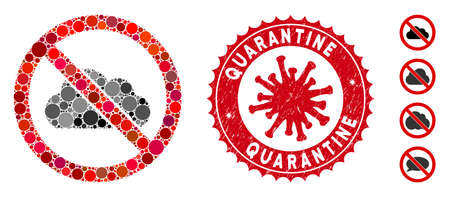 Mosaic no cloud icon and red round corroded stamp seal with Quarantine phrase and coronavirus symbol. Mosaic vector is designed with no cloud icon and with scattered round spots. Illustration