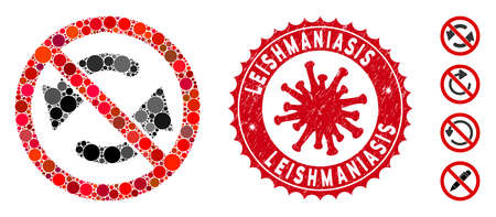 Mosaic no flip arrows icon and red rounded rubber stamp seal with Leishmaniasis caption and coronavirus symbol. Mosaic vector is designed with no flip arrows pictogram and with randomized round spots.