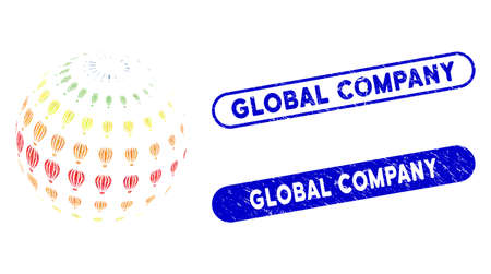Collage abstract aerostat sphere and corroded stamp seals with Global Company caption. Mosaic vector abstract aerostat sphere is formed with scattered rectangle items.