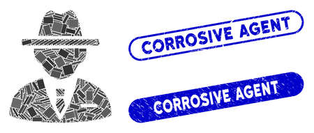 Collage agent and grunge stamp seals with Corrosive Agent caption. Mosaic vector agent is composed with random rectangle items. Corrosive Agent stamp seals use blue color, 일러스트