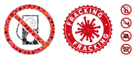 Mosaik ohne Tankstellensymbol und rotes rundes beunruhigtes Stempelwasserzeichen mit Fracking-Phrase und Coronavirus-Symbol. Der Mosaikvektor wird ohne Tankstellensymbol und mit zufälligen runden Gegenständen erstellt. Vektorgrafik