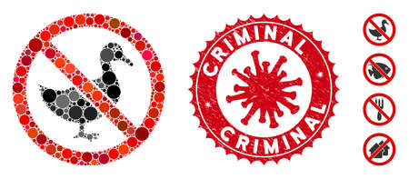 Mosaic no duck icon and red round grunge stamp watermark with Criminal text and coronavirus symbol. Mosaic vector is created with no duck icon and with randomized round items.