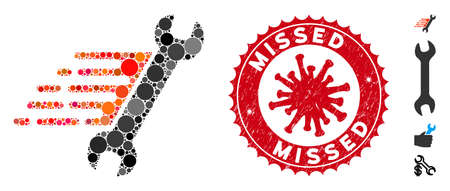 Mosaic rush repair icon and red rounded distressed stamp seal with Missed text and coronavirus symbol. Mosaic vector is formed with rush repair icon and with scattered round elements.