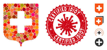 Mosaic medical shield icon and red round grunge stamp seal with Certified Idiot caption and coronavirus symbol. Mosaic vector is created with medical shield icon and with random spheric elements. Ilustração
