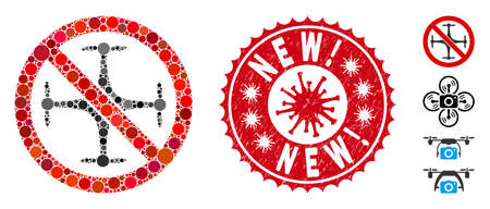 Mosaic no quadrocopter icon and red round rubber stamp watermark with New! phrase and coronavirus symbol. Mosaic vector is composed with no quadrocopter icon and with scattered round spots.