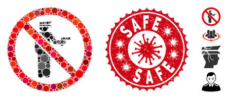 Mosaic no police gun icon and red round rubber stamp seal with Safe caption and coronavirus symbol. Mosaic vector is composed with no police gun pictogram and with random round spots. 向量圖像