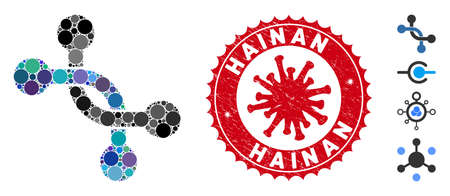 Mosaic overpass connection icon and red round rubber stamp seal with Hainan text and coronavirus symbol. Mosaic vector is formed with overpass connection pictogram and with random round elements. Illusztráció
