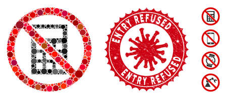 Mosaic no calculator icon and red round rubber stamp watermark with Entry Refused text and coronavirus symbol. Mosaic vector is created from no calculator icon and with randomized round items. Illustration