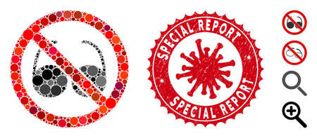 Mosaic no spectacles icon and red round corroded stamp watermark with Special Report caption and coronavirus symbol. Mosaic vector is formed with no spectacles icon and with randomized round spots.