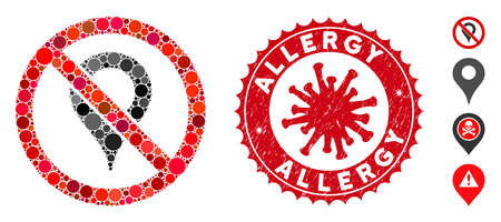 Mosaic no map marker icon and red round rubber stamp watermark with Allergy phrase and coronavirus symbol. Mosaic vector is composed with no map marker icon and with random round items.