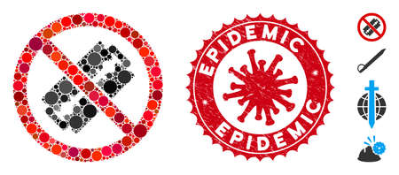 Collage no razor blade icon and red round grunge stamp watermark with Epidemic text and coronavirus symbol. Mosaic vector is composed with no razor blade icon and with randomized round elements.