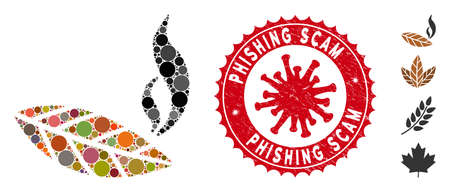 Mosaic smoking tobacco leaf icon and red round rubber stamp watermark with Phishing Scam phrase and coronavirus symbol.