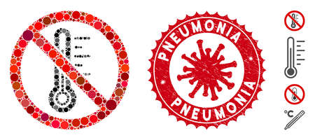 Mosaic no temperature icon and red rounded distressed stamp seal with Pneumonia phrase and coronavirus symbol. Mosaic vector is composed with no temperature icon and with scattered circle items.
