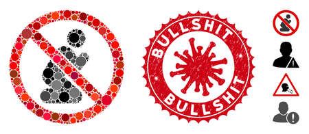 Mosaic no praying icon and red rounded corroded stamp watermark with Bullshit text and coronavirus symbol. Mosaic vector is composed with no praying icon and with randomized circle spots.