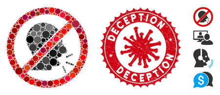 Mosaic no talking icon and red round grunge stamp seal with Deception caption and coronavirus symbol. Mosaic vector is designed from no talking icon and with random round spots. Vettoriali