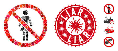 Mosaic no ladies icon and red rounded distressed stamp seal with Liar caption and coronavirus symbol. Mosaic vector is designed with no ladies icon and with randomized circle items.
