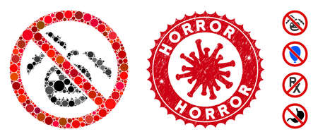 Mosaic no Halloween icon and red round grunge stamp watermark with Horror text and coronavirus symbol. Mosaic vector is formed from no Halloween pictogram and with random spheric items.