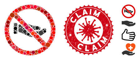 Mosaic no petition hand icon and red round distressed stamp seal with Claim phrase and coronavirus symbol. Mosaic vector is created with no petition hand pictogram and with scattered round items.