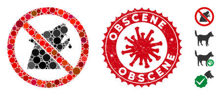 Collage no werewolf icon and red rounded corroded stamp seal with Obscene caption and coronavirus symbol. Mosaic vector is designed with no werewolf icon and with randomized spheric elements.