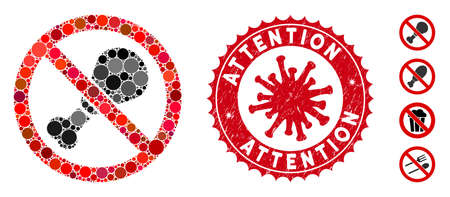Mosaic no chicken leg icon and red rounded grunge stamp watermark with Attention phrase and coronavirus symbol. Mosaic vector is composed with no chicken leg icon and with scattered spheric items.