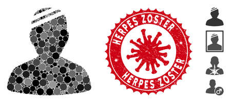 Mosaic patient icon and red round grunge stamp seal with Herpes Zoster text and coronavirus symbol. Mosaic vector is designed from patient icon and with scattered round items.