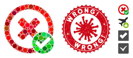 Mosaic true negative icon and red round distressed stamp seal with Wrong! phrase and coronavirus symbol. Mosaic vector is created with true negative icon and with random circle spots.