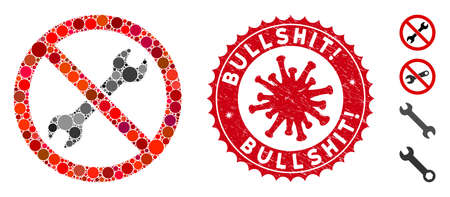 Mosaic no repair wrench icon and red round rubber stamp seal with Bullshit! caption and coronavirus symbol. Mosaic vector is composed with no repair wrench icon and with randomized spheric items.