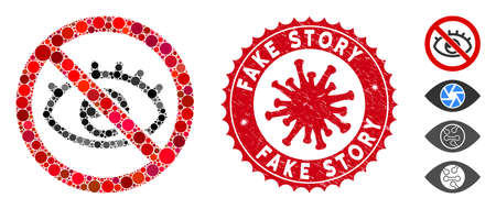 Mosaic no vision icon and red round rubber stamp watermark with Fake Story text and coronavirus symbol. Mosaic vector is composed with no vision icon and with scattered circle elements.