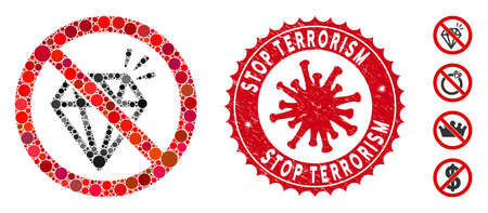 Mosaic no brilliant icon and red round distressed stamp seal with Stop Terrorism caption and coronavirus symbol. Mosaic vector is created with no brilliant icon and with randomized round items. Banque d'images - 140741111