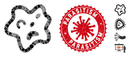 Mosaic bacteria icon and red round rubber stamp seal with Parasitism caption and coronavirus symbol. Mosaic vector is composed with bacteria icon and with scattered circle items. Çizim