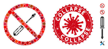 Mosaic no screwdriver tuning icon and red rounded distressed stamp seal with Collapse phrase and coronavirus symbol. Vektoros illusztráció