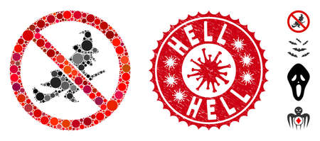 Mosaic no witch flights icon and red round distressed stamp seal with Hell caption and coronavirus symbol. Mosaic vector is created with no witch flights pictogram and with scattered round items.