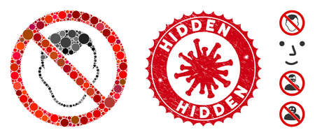 Mosaic no face icon and red round distressed stamp seal with Hidden text and coronavirus symbol. Mosaic vector is designed with no face pictogram and with random round elements.