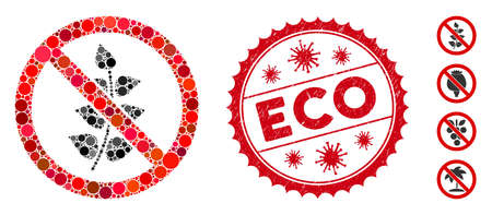 Mosaic no flora plant icon and red rounded corroded stamp seal with Eco phrase and coronavirus symbol. Mosaic vector is designed from no flora plant icon and with randomized spheric spots. Ilustração