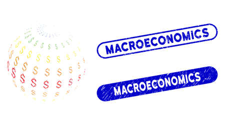 Mosaic abstract dollar sphere and grunge stamp seals with Macroeconomics caption. Mosaic vector abstract dollar sphere is formed with random rectangle items. Macroeconomics stamp seals use blue color, Illusztráció