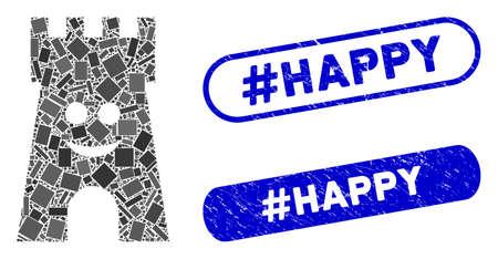 La tour du fort heureux en mosaïque et les sceaux de timbre en détresse avec la phrase #Happy. La tour heureuse de fort de vecteur de mosaïque est créée avec des articles de rectangle dispersés. Les sceaux de timbre #Happy utilisent la couleur bleue,