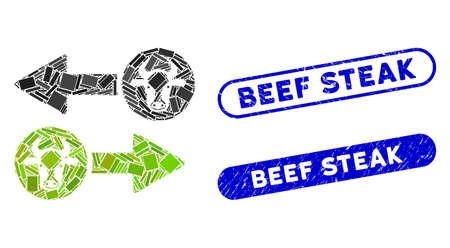 Mosaic cow exchange arrows and grunge stamp seals with Beef Steak text. Mosaic vector cow exchange arrows is designed with randomized rectangle items. Beef Steak stamp seals use blue color,