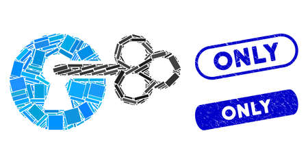 Mosaic secret key and grunge stamp seals with Only text. Mosaic vector secret key is formed with random rectangle items. Only stamp seals use blue color, and have round rectangle shape. Illusztráció