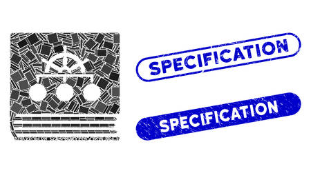 Mosaic ship guide book and distressed stamp seals with Specification text. Mosaic vector ship guide book is formed with randomized rectangles. Specification stamp seals use blue color,