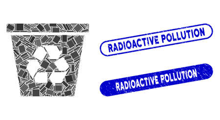 Mosaic recycle bin and grunge stamp seals with Radioactive Pollution text. Mosaic vector recycle bin is composed with randomized rectangle items. Radioactive Pollution stamp seals use blue color,