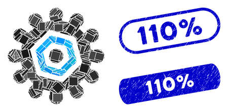 Collage gear and corroded stamp seals with 110% phrase. Mosaic vector gear is composed with scattered rectangle items. 110% stamp seals use blue color, and have round rectangle shape. Illustration