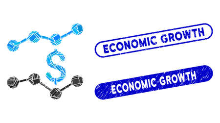 Mosaic financial trends and distressed stamp seals with Economic Growth phrase. Mosaic vector financial trends is formed with scattered rectangle items. Economic Growth seals use blue color,