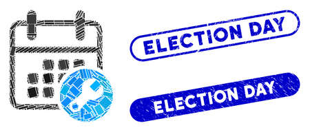 Mosaic calendar setup and corroded stamp seals with Election Day phrase. Mosaic vector calendar setup is composed with scattered rectangle items. Election Day seals use blue color,