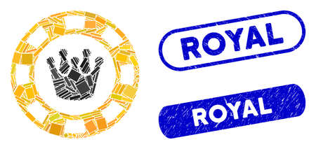 Mosaic royal casino chip and distressed stamp seals with Royal text. Mosaic vector royal casino chip is formed with scattered rectangles. Royal stamp seals use blue color,