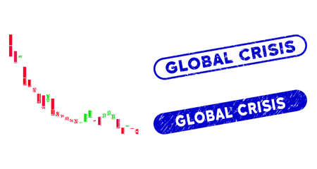 Mosaic candlestick chart falling slowdown and corroded stamp seals with Global Crisis caption. Mosaic vector candlestick chart falling slowdown is designed with scattered rectangle items.