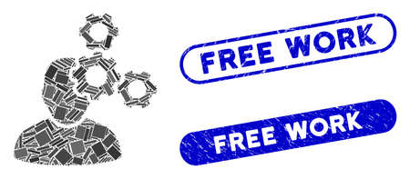 Mosaic mechanics specialist and distressed stamp seals with Free Work text. Mosaic vector mechanics specialist is formed with randomized rectangle items. Free Work stamp seals use blue color, Foto de archivo - 139420177