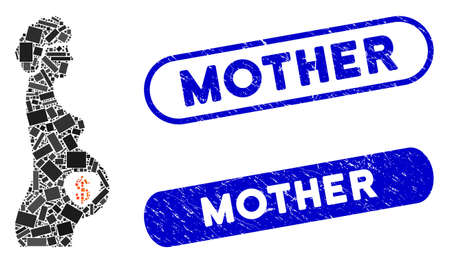 Mosaic surrogate mother and distressed stamp seals with Mother caption. Mosaic vector surrogate mother is formed with random rectangles. Mother stamp seals use blue color, 向量圖像