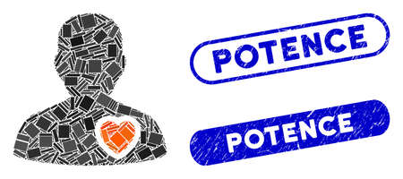 Mosaic patient heart and grunge stamp seals with Potence phrase. Mosaic vector patient heart is designed with random rectangle items. Potence seals use blue color, and have round rectangle shape.