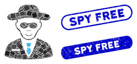 Mosaic spy and corroded stamp seals with Spy Free phrase. Mosaic vector spy is formed with scattered rectangle items. Spy Free stamp seals use blue color, and have round rectangle shape. 일러스트