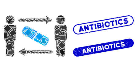 Mosaic men pill exchange and rubber stamp seals with Antibiotics caption. Mosaic vector men pill exchange is created with randomized rectangle items. Antibiotics stamp seals use blue color,